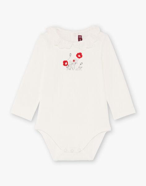 Body écru imprimé col dentelle bébé fille BAANDREA / 21H1BF11BOD001