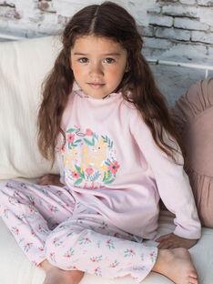Pyjama manches longues rose motif biches enfant fille BEBICHETTE / 21H5PF63PYJD300