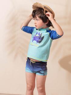 Maillot de bain bleu encre imprimés vagues et palmiers enfant garçon ZYMUAGE / 21E4PGR4MAIC214