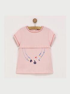 Tee shirt manches courtes rose RAFITAETTE / 19E2PFC1TMCD300