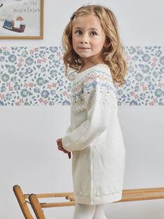 Robe écrue jacquard manches longues enfant fille BLAZETTE / 21H2PFO2ROB001