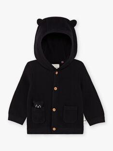 Gilet en maille à capuche noir bébé garçon BADEAN / 21H1BG21GIL090