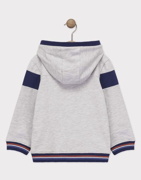 Sweat shirt à capuche gris chiné clair garçon  TUVESAGE 2 / 20E3PG93JGH218
