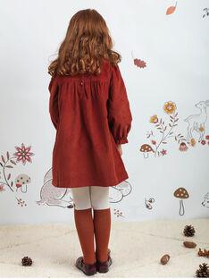 Robe manches longues en velours brodée enfant fille BUVELETTE / 21H2PFJ1ROB821