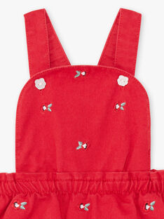 Robe à bretelles rouge broderies coquelicots bébé fille BAAXELLE / 21H1BF11ROBF505