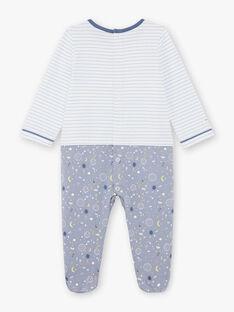 Grenouillère bicolore bleue et blanche à motifs fantaisie bébé garçon BEAXEL / 21H5BG66GRE205