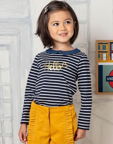 T-shirt manches longues à rayures  col claudine enfant fille BIMARETTE / 21H2PF52TML070
