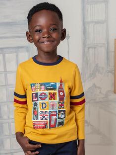 T-shirt jaune et bleu marine enfant garçon BEDOUAGE / 21H3PG51TMLB114