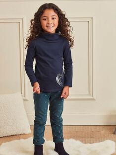 Pantalon bleu canard en velours imprimé métallisé enfant fille BROVELETTE1 / 21H2PFF2PAN714