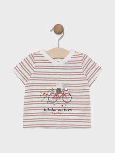 Tee-shirt manches courtes bébé garçon à rayures avec placé poitrine SADENVER / 19H1BG31TMC000