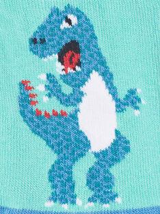 Chaussettes basses coloris bleu contrasté dinosaure ZAFATAGE / 21E4PGJ1SOBG621