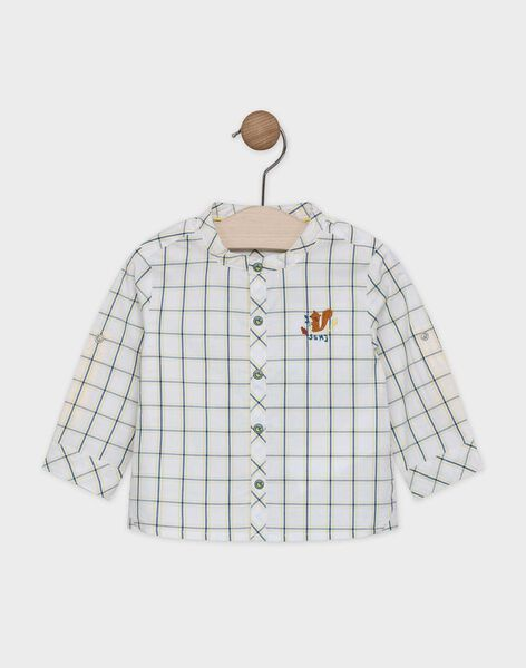 Chemise à carreaux bébé garçon fond écru et carreaux bleu canard et jaune SABARTH / 19H1BG21CHM001