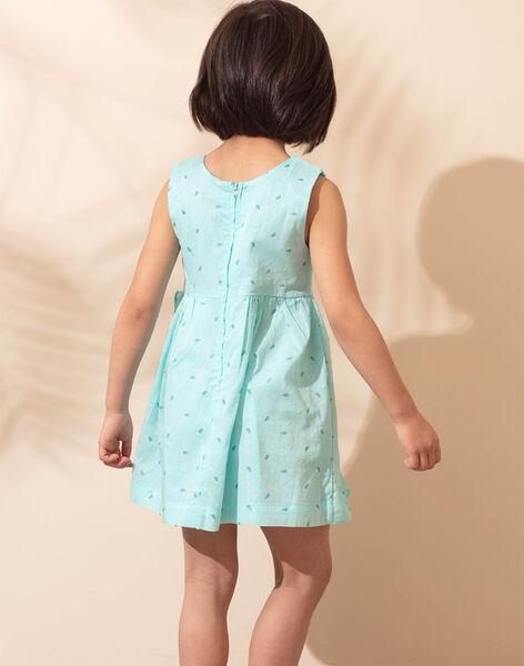 Robe sans manches bleu ciel imprimé palmiers enfant fille TEUZIETTE / 20E2PFX1CHSC242