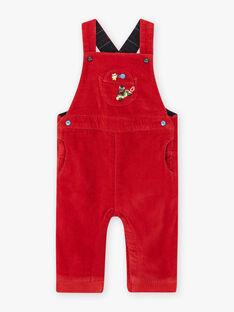Salopette rouge en velours bébé garçon BAPAUL / 21H1BGM1SALF528