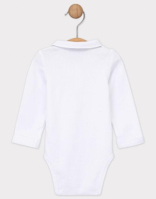 Body manches longues blanc bébé garçon avec nœud papillon amovible  SAWALTER / 19H1BGP1BOD001