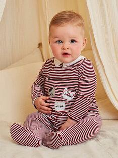 Grenouillère en velours à rayures rouges motif chatons bébé garçon BECOLIN / 21H5BG73GRE502
