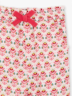 Pantalon rose pâle imprimé fleuri bébé fille TASARA / 20E1BFQ1PCOD317