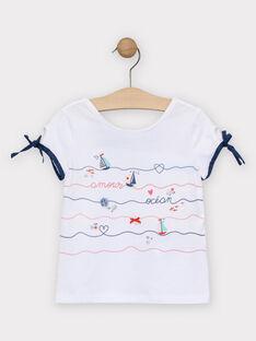 T-Shirt écru imprimé marin fille  TUILETTE / 20E2PFW1TMC001