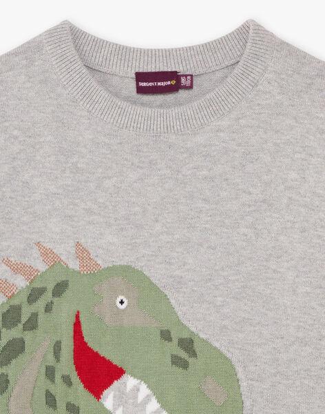 Pull maille gris chiné motif dinosaure enfant garçon BAMIAGE / 21H3PG21PUL943
