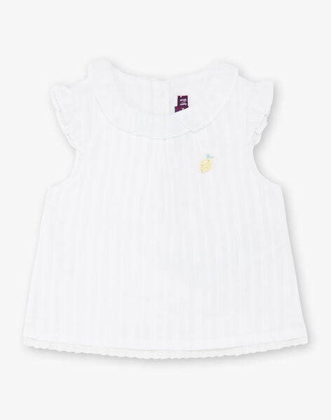 Blouse blanche à rayures bébé fille ZANORA / 21E1BFO1CHE000