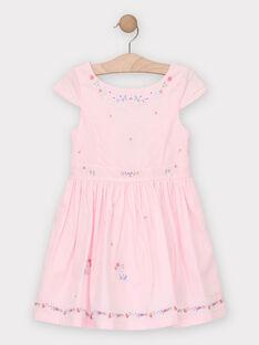Robe rose brodée fille  TYNOETTE / 20E2PFJ3ROB321
