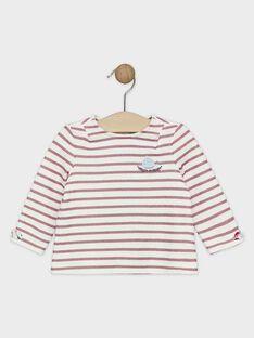 T-shirt rayé avec lurex rose bébé fille   SANEMY / 19H1BFE1TML001