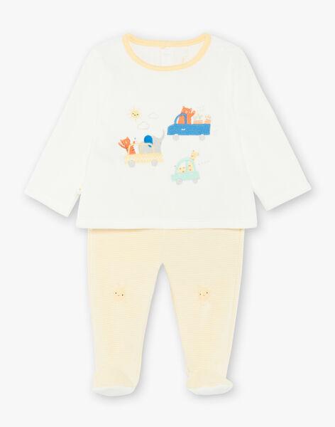 Pyjama velours  jaune et écru ZEBRAD / 21E5BG11PYJ001