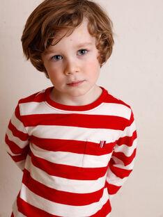T-shirt manches longues rayé rouge et blanc enfant garçon ZAXOUAGE2 / 21E3PGK6TML001