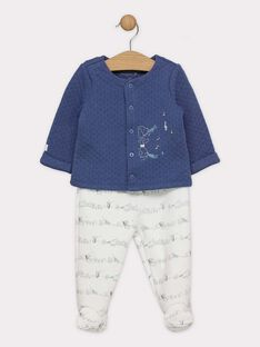 Ensemble cardigan bleu et pantalon à pied en tubic bébé garçon SYBRADLEY / 19H0NGM1ENSC203