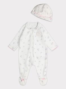 Dors bien et bonnet en velours écru bébé fille  TYTI B / 20E0NFF5GRE000