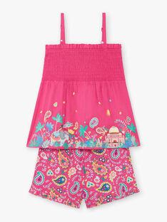 Pyjama fuschia short et fines bretelles imprimé voyage enfant fille ZEJEDETTE