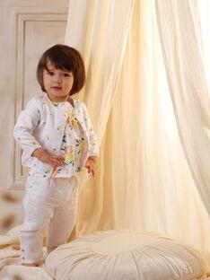 Pantalon blanc brodé à volants bébé fille ZANOOR / 21E1BFO1PAN000