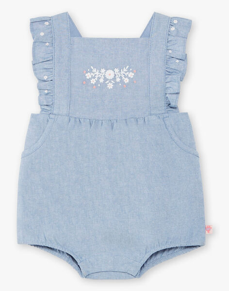 Barboteuse brodée en jean bébé fille ZAPRISKA / 21E1BFT1BAR721