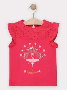 T-shirt rose avec flamant rose fille  TOTAETTE / 20E2PFG1TMC302