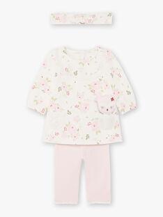 Robe et bandeau imprimé fleuri et legging rose naissance fille BOUTAINA / 21H0CF43ENS001