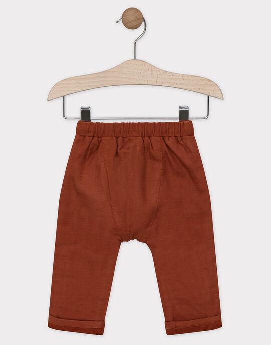 Pantalon bébé garçon couleur terre battue SABERTIN / 19H1BG21PANF519