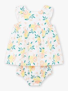 Robe blanche à imprimés fleuris oranges et jaunes et bloomer assorti bébé fille ZANOEMIE / 21E1BFO1ROB000