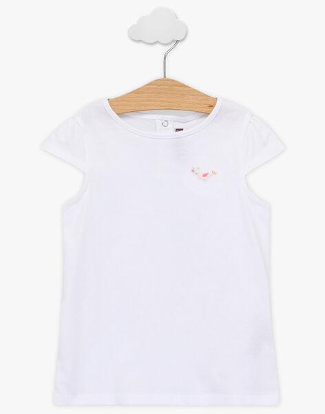 T-shirt écru broderie oiseau enfant fille TYKOETTE / 20E2PFJ1TMC000
