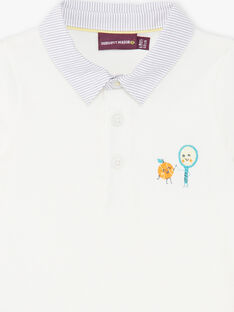 Polo écru brodé col contrasté bébé garçon ZAMATT / 21E1BGO1POL001