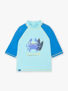 T-shirt manches 3/4 anti-UV bleu motif crabe enfant garçon ZYSURFAGE / 21E4PGR1TUV202