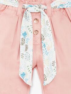 Pantalon rose et sa ceinture imprimée bébé fille ZABONYEX / 21E1BF72PAND327