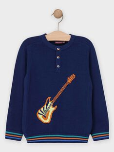 Pull en tricot bleu marine garçon  TELUDAGE / 20E3PGG1PUL070