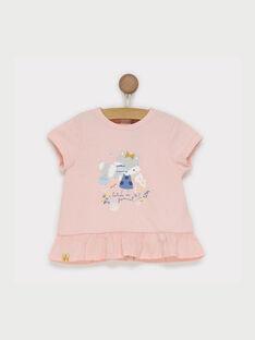 Tee shirt manches courtes rose RADELPHINE / 19E1BF61TMC301