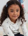 Sous-pull écru et bleu imprimé fantaisie enfant fille BYSOUPETTE / 21H2PFL1SPL001