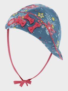 Chapeau bleu imprimé fleuri bébé fille TAVENUS / 20E4BFX1CHA210