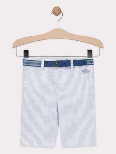 Bermuda rayé bleu et blanc avec ceinture amovible garçon  TIBERMAGE / 20E3PGJ3BER020