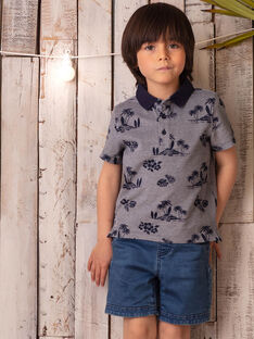 Polo bleu nuit  imprimé tropical enfant garçon ZOCIAGE / 21E3PGU1POL715