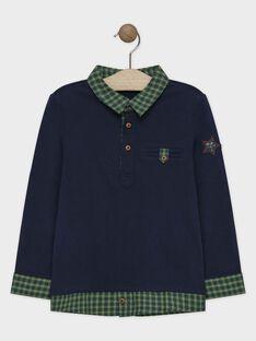 Polo bleu avec un col chemise garçon SACEAGE / 19H3PGC1POL705
