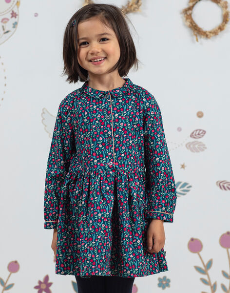 Robe manches longues bleu canard imprimé fleuri enfant fille BOSOFETTE / 21H2PF91ROB714