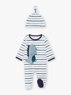Grenouillère bleue et blanche à rayures, motif dinosaure et bonnet bébé garçon BEAYME / 21H5BG67GREG610